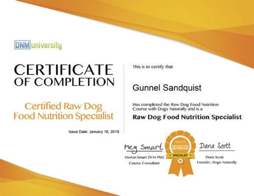 Raw Pet Food Nutrition Specialist Certificate